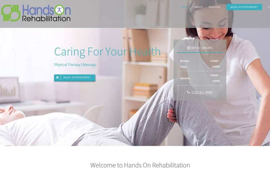 Websites for physicians, physical therapy, fitness and wellness providers: Website gallery thumbnail - Hands On Rehabilitation