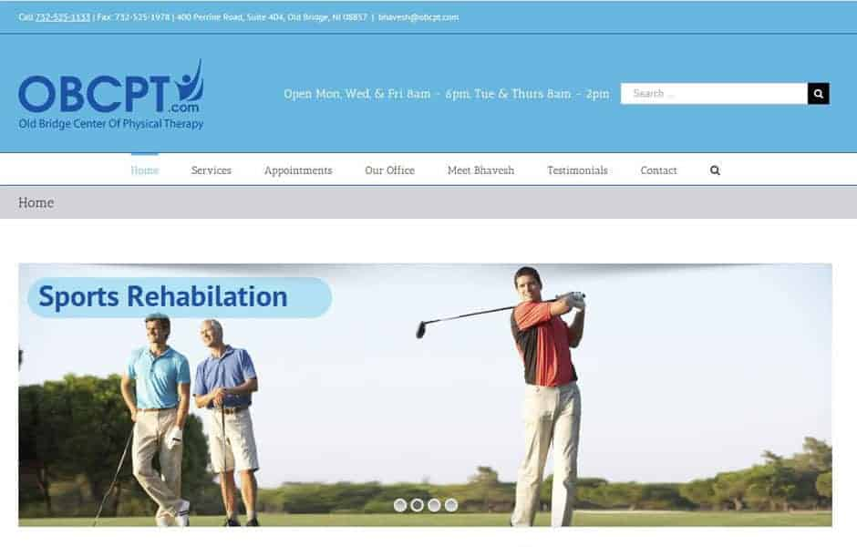 Websites for Physical therapy, fitness and wellness providers: Website gallery thumbnail - Old Bridge Physical Therapy