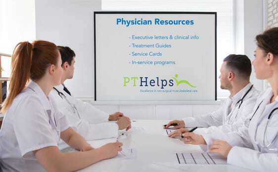 Picture of physicians meeting with physical therapist