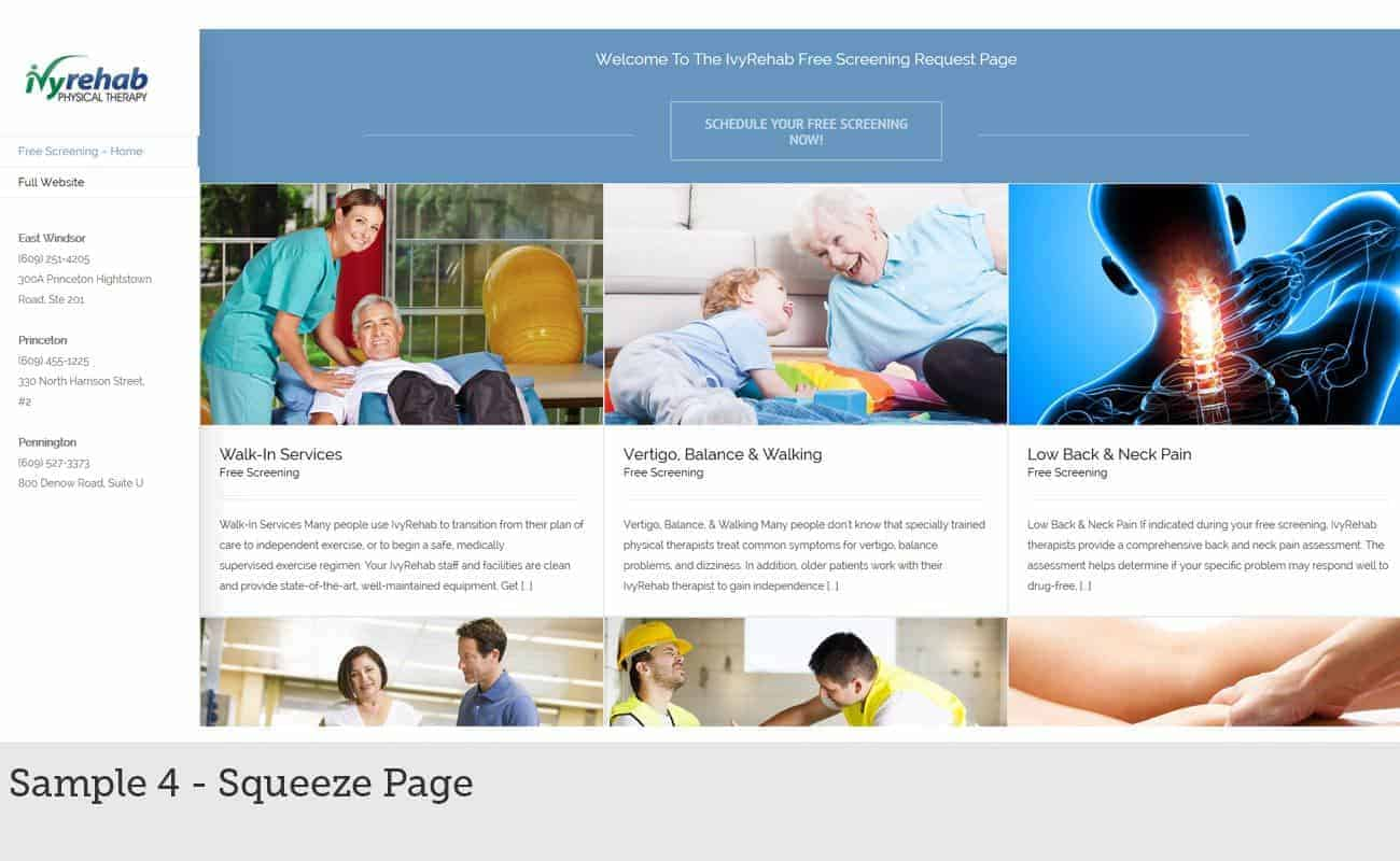 Custom website design sample 4 - Squeeze Page