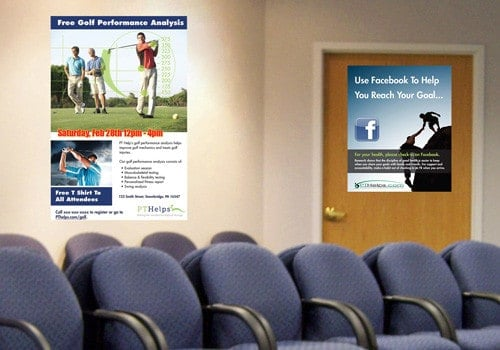 Picture of waiting room with posters from the PTRM program.