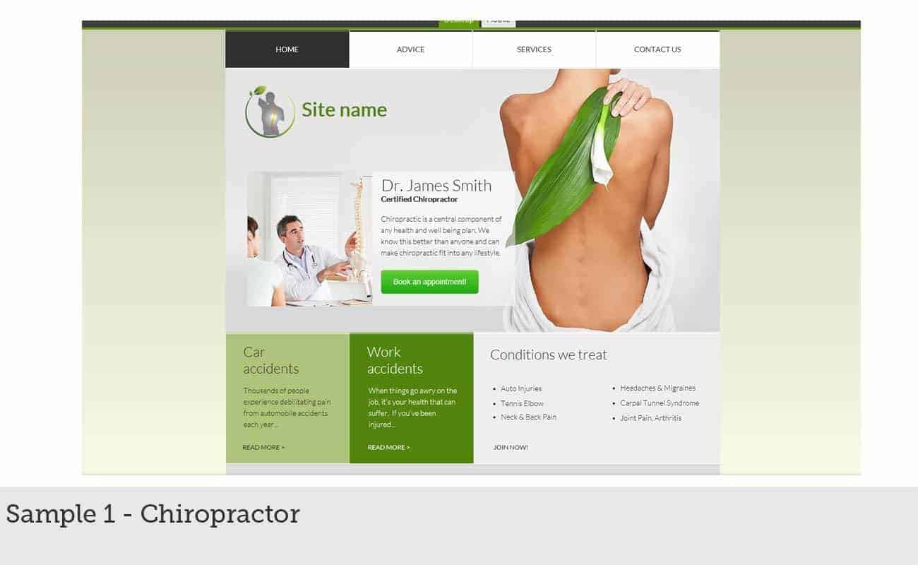 Website Builder Design Sample 1 - Chiropractor