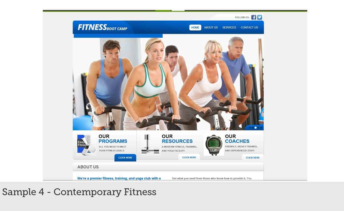 Website Builder Sample 4 - Contemporary Fitness
