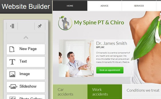 Screen shot of PT Referral Machine Website Builder