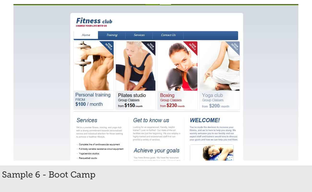 Website Builder Sample 6 - Boot Camp