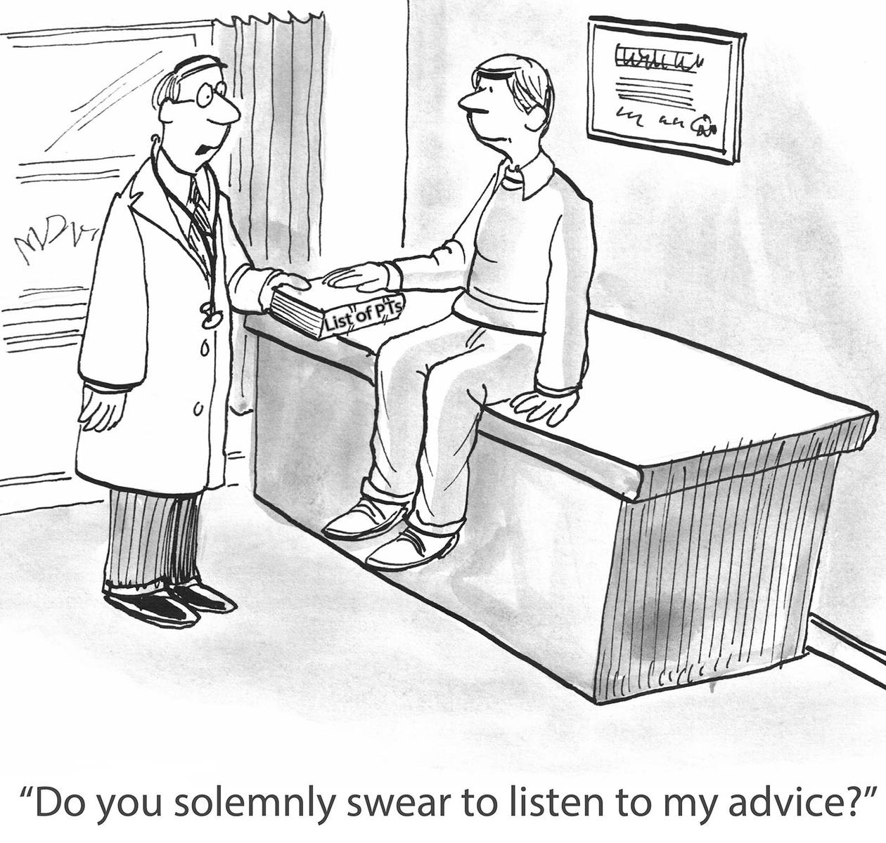 physical therapy marketing letter to physicians - comic