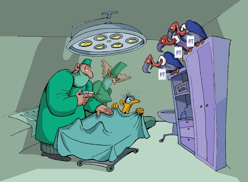 Humorous illustration of patient afraid of surgery
